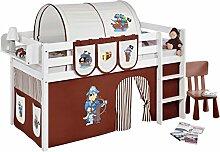 Lilokids Spielbett Jelle Pirat, Hochbett mit Vorhang Kinderbett, Holz, braun / beige, 198 x 98 x 113 cm