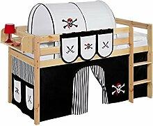 Lilokids Spielbett Jelle Pirat, Hochbett mit Vorhang Kinderbett, Holz, schwarz / weiß, 208 x 98 x 113 cm