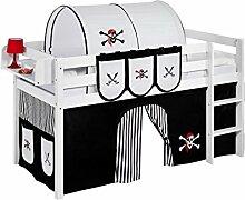 Lilokids Spielbett JELLE Pirat Schwarz Weiß - Hochbett - weiß - mit Vorhang