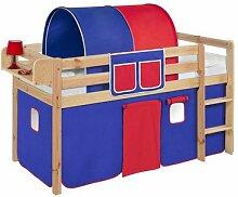 Lilokids T-JELLE2054KN-BLAU-ROT Spielbett Jelle, TÜV und GS geprüft, Hochbett mit Vorhang und Lattenrost Kinderbett, Holz, blau / rot, 208 x 98 x 113 cm