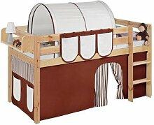 Lilokids T-JELLE2054KN-BRAUN-BEIGE-S Spielbett Jelle, TÜV und GS geprüft, Hochbett mit Vorhang und Lattenrost Kinderbett, Holz, braun / beige, 208 x 98 x 113 cm