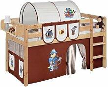 Lilokids T-JELLE2054KN-PIRAT-BRAUN-S Spielbett Jelle Pirat, TÜV und GS geprüft, Hochbett mit Vorhang und Lattenrost Kinderbett, Holz, braun / beige, 208 x 98 x 113 cm
