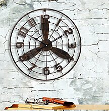 LILSN American Retro Industrial Wind Creative Fan Wanduhr Bar Coffee Shop Wanddekoration Shop Wanduhr Uhren und Uhren