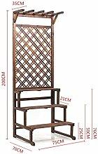 LILSN- Antiseptisches Holz hängender hölzerner Blumenrahmen Balkon Multi - Funktions - Pflanze Rahmen Boden - Typ Massivholz Blumen Regal ( größe : 75*70*200 cm )