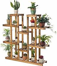 LILSN- Balkon Massivholz Blumenregal Wohnzimmer Mehrgeschossige Holztöpfe Indoor Multi - Fleisch Grün Pflanzung Blumen Regal