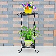 LILSN- Eisen Blumenrahmen Landung Multi - Storey Töpfe Indoor und Outdoor europäischen - Stil Grüne Blume Blumen Regal Wohnzimmer Balkon Blumen Racks ( Farbe : Schwarz , größe : 34*34*72cm )