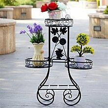 LILSN- Iron Creative Multi - Storey Blumen Stand Grün Türkis Orchidee Regal Holz Wohnzimmer Innenboden Flower Pot Rack