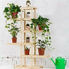 LILSN- Massivholz Blumenständer Balkon Mehrgeschossiger Holzboden - Stil Bonsai Blumen Regal Wohnzimmer Interieur Blumen Rack ( Farbe : # 1 )