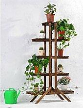 LILSN- Massivholz Blumenständer Grün Rettich Multi - Boden Boden Blume Rack Bonsai Holz Blume Regal Balkon Wohnzimmer Interior Flower Rack ( Farbe : Carbon baking color )