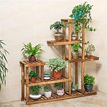 LILSN- Massivholz Carbon Grill Balkon Blumenständer Wohnzimmer Blumen Regal Multi - Layer Multi - Fleisch Indoor Blumentopf Regal