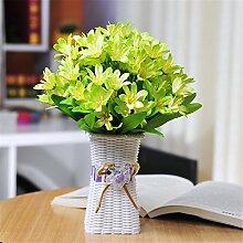 Lily Sun Flower Emulation Flower Square Kunststoff Leichte Vase Anzug Home Office Dekoration Floral Arrangement Ornament,Lily/Green