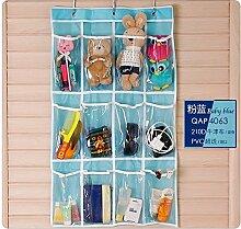LILYJ-Shoe Cabinet Hängende Schuhschrank Artefakt Schlafsaal Utility Storage Idee, nachdem die Tür zum Schlafzimmer hängende Tasche zu Hause, Rosa Blau