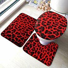 Lilyo-ltd Badteppich-Set mit Leopardenmuster, aus