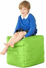 Lime Grüne, gesteppte, wasserabweisende Cube Sitzsack