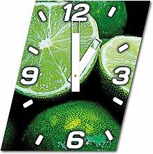 Limetten, Design Wanduhr aus Alu Dibond zum Aufhängen, 30 cm Durchmesser, breite Zeiger, schöne und moderne Wand Dekoration, mit qualitativem Quartz Uhrwerk