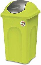 Limettenfarbener Mülleimer 60 Liter mit silber