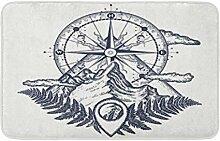 LiminiAOS Badematte Berge und Kompass Tattoo