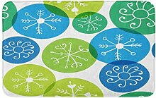 LiminiAOS Badematte Blau Urlaub Schneeflocken