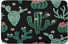 LiminiAOS Badematte n vonStickerei Kaktus Pflanzen