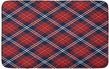 LiminiAOS Badematte Scottish Red und Navy Bias