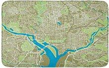 LiminiAOS Badematte Straße Washington DC Karte
