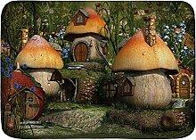 LiminiAOS Badematte Teppich, Natur Pilz Häuser in