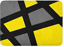 LiminiAOS Benutzerdefinierte Badematte gelb grau