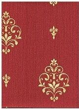 limonta–Tapete Bordeaux Rot mit Dekor Zeitgenössische klassische vergoldet glänzend auf Boden Effekt Stoff Leinen. Neapolis 91805