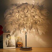 LINA-Kreative und stilvolle crystal Feder lampe led lampen schlafzimmer bett Geburtstag Hochzeit eingerichtet und in einem minimalistischen, 35cm-weiß kleine Lampen