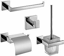 LINA@ Moderne Wand-Spiegel poliert 304 Edelstahl-Badezimmer-Set. 4-teiliges Set inklusive WC Bürste WC-Papier Halter Handtuch Ring Bademantelhaken