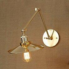 LINA-Weihnachten Halloween-Geschenke Einfach kreative American retro Wand Lampe Lampe im freien antiken europäisch anmutenden industrielle Eisen Wand Lampe Schlafzimmer Wandleuchten,Golden