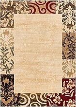 Lincolnshire Gardens moderner Teppich, geometrischer Farbverlauf, Bordüre, leicht zu reinigen, fleckenresistent, fusselt nicht, zeitgenössisches Blumenmuster, für Ess- oder Wohnzimmer, beige, 160 x 220 cm