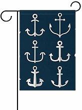LINDATOP Gartenflagge mit Anker-Symbolen, 30,5 x