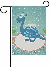 LINDATOP Gartenflagge mit Dinosaurier-Motiv, 30,5