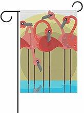 LINDATOP Gartenflagge mit Flamingo-Flock, 30,5 x