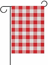 LINDATOP Gartenflagge mit rotem Gingham-Muster,