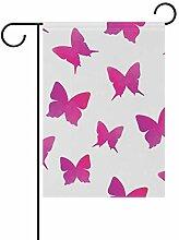 LINDATOP Gartenflagge mit Schmetterlingen, 30,5 x