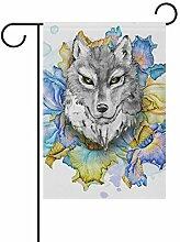 LINDATOP Gartenflagge mit schönem Wolf, 30,5 x