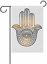 LINDATOP Hamsa mit Ethno-Muster, Gartenflagge,