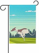 LINDATOP Hundeflagge mit rundem Whippet, 30,5 x