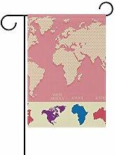 LINDATOP Mapa Mundi Gartenflagge, 30,5 x 45,7 cm,