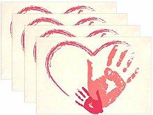 LINDATOP Tischset mit Handabdrücken, handbemalt,