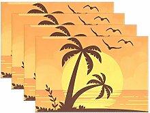 LINDATOP Tischset mit Palmen und Sonnenuntergang,