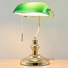 Lindby Bankerlampe grün messing poliert   Retro