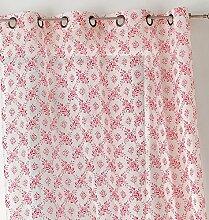 Linder 0169/69/47027/377Vorhang Blume Polyester/Leinen rot 150x 240cm