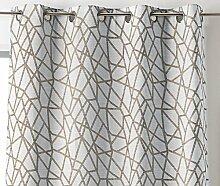 Linder 0977/15/375FR Vorhang, geometrisches Motiv, Polyester / Leinen / Baumwolle, 135x 260 cm, beige, 135x260