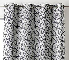 Linder 0977/92/375FR Vorhang, Motiv geometrische Polyester/Leinen/Baumwolle grau 135x 260