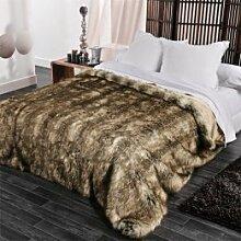 Linder 5011 /28/841/230 Grizzly-Bettüberwurf, Kunstfell, Baumwolle, 250 x 230cm, Beige