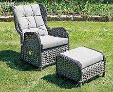 LINDER EXCLUSIV Garten Relaxsessel aus Rattan grau