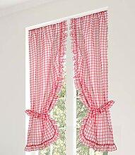 Linder Scheibengardine, Polyester, Rot, 55 x 160 cm